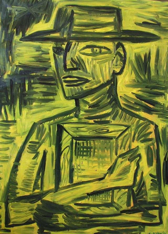 Malarz trzyma obraz